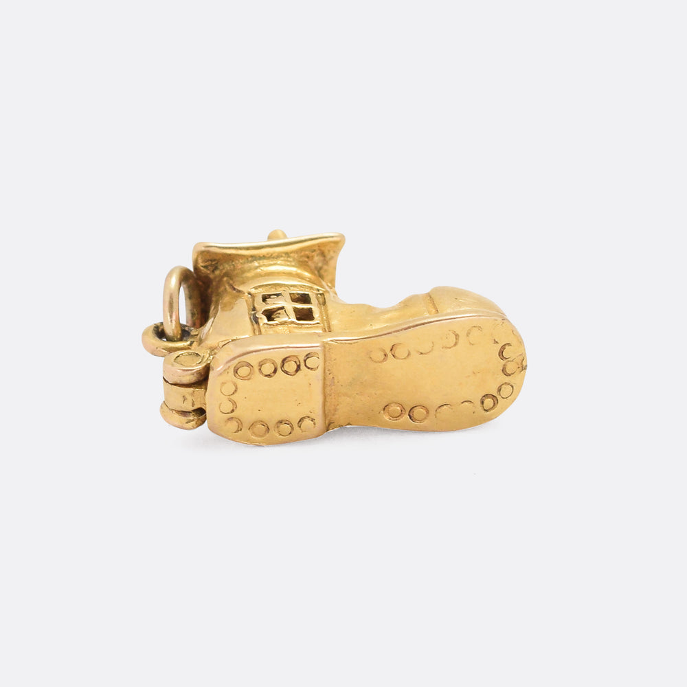 Vintage Gold Old Lady & Shoe Charm