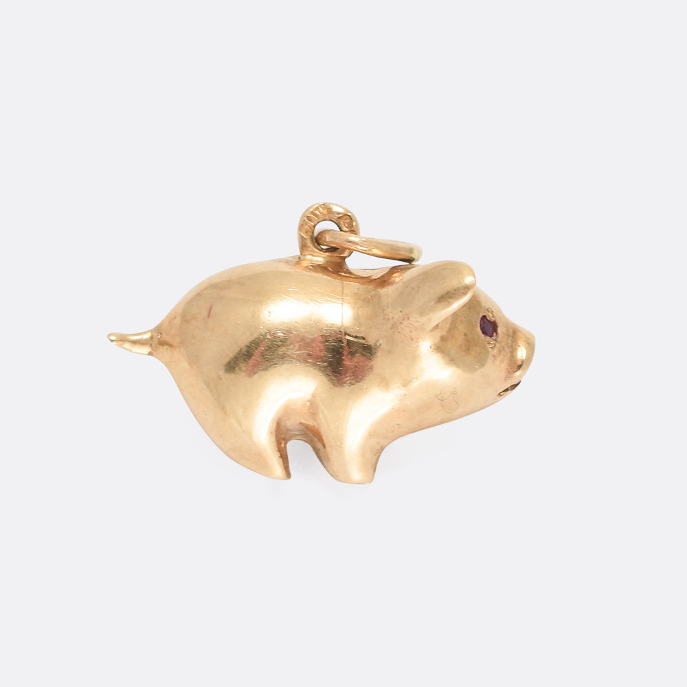 Vintage Gold Piggy Bank Charm