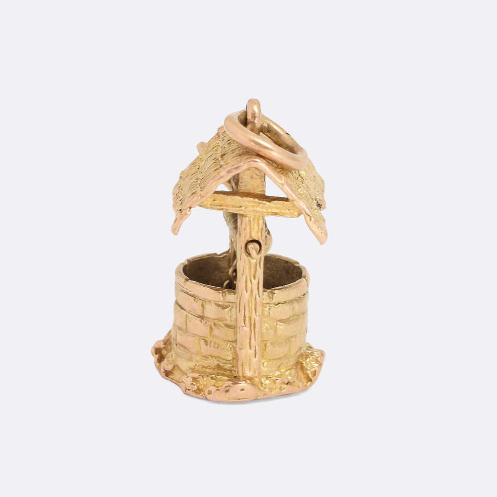 Vintage Gold Wishing Well Charm Pendant
