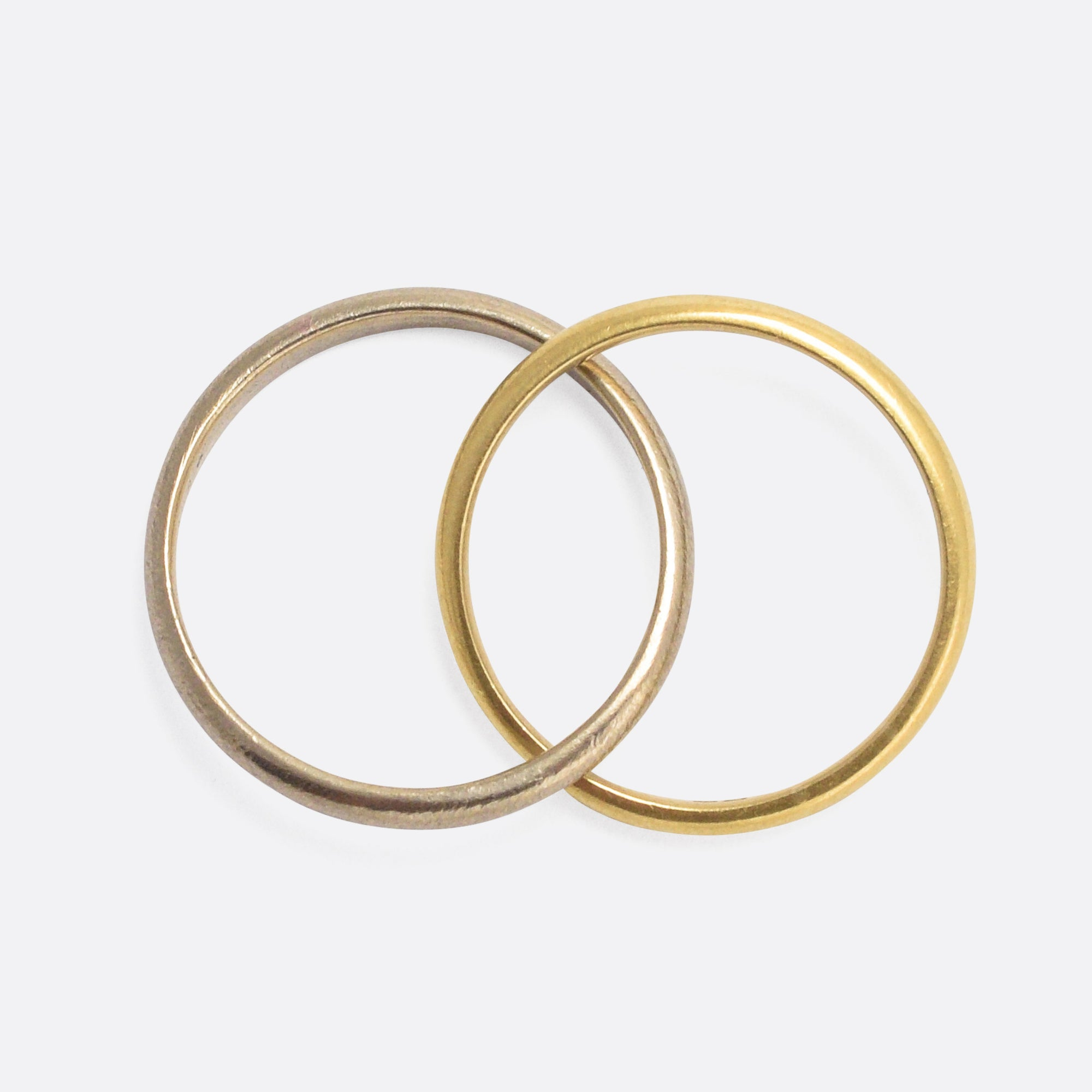 ladies colour two band tone wedding bands rings