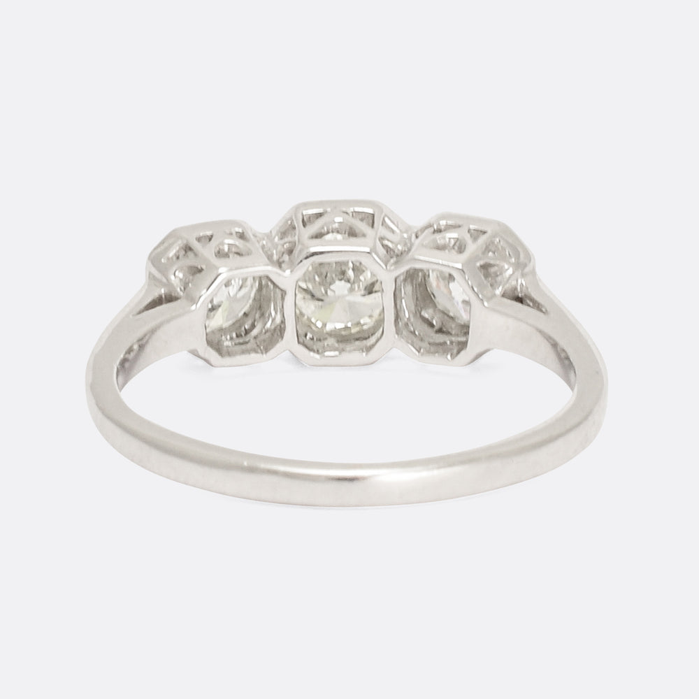Vintage Octagonal Set 1.22ct Diamond Trilogy Ring