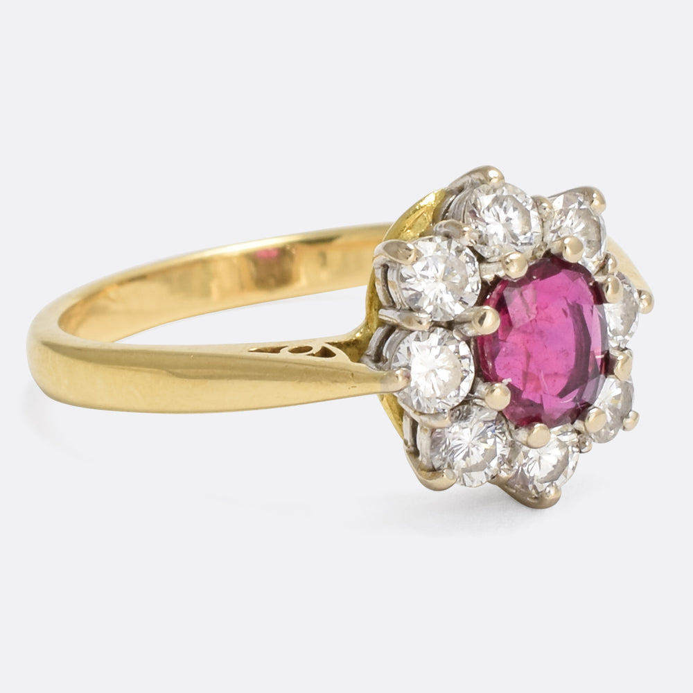 Vintage Ruby & Diamond Cluster Ring