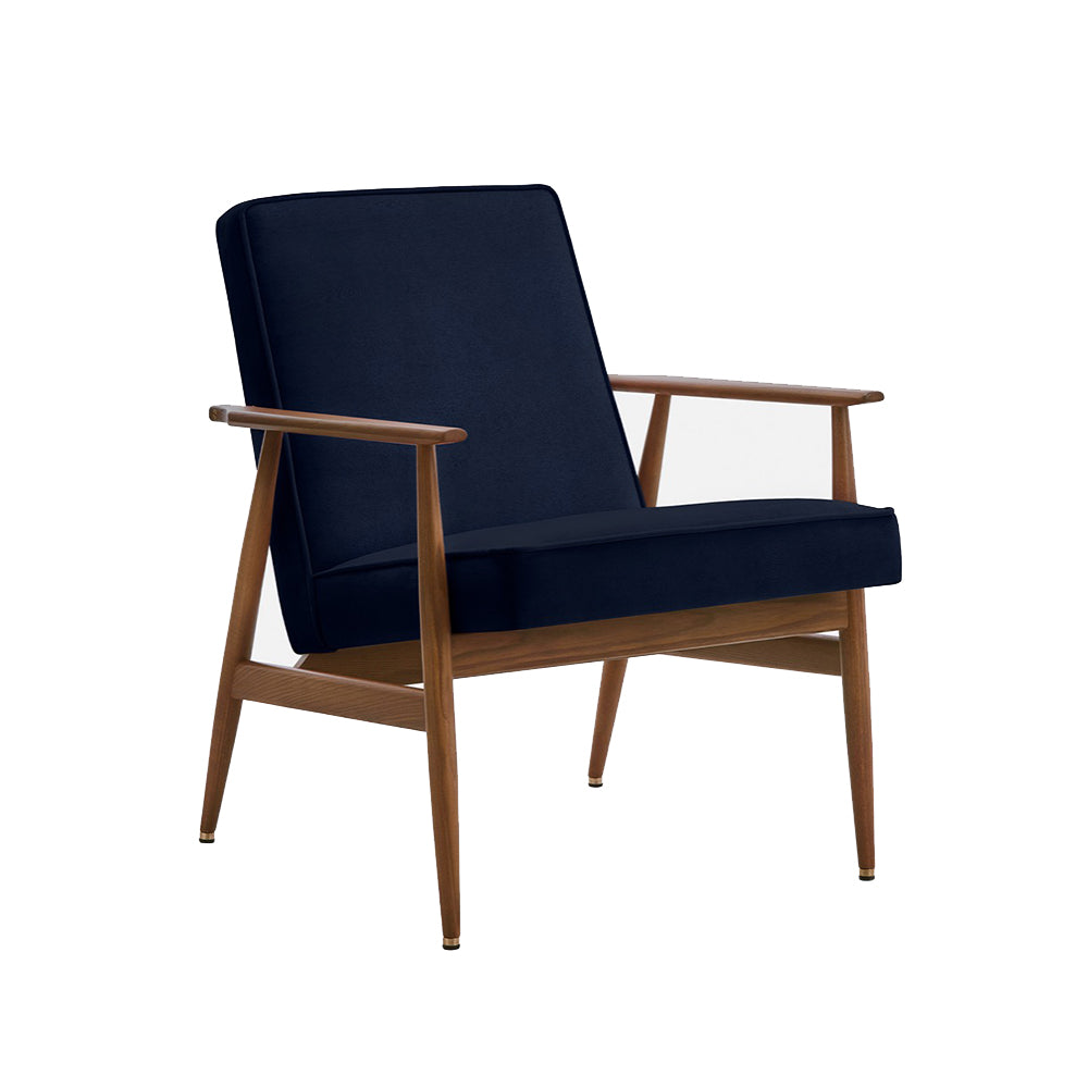 Fox - Velvet lounge chair Indigo