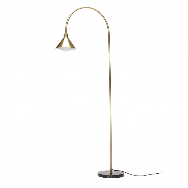 Floor Lamp - w/marble Base, Black/brass