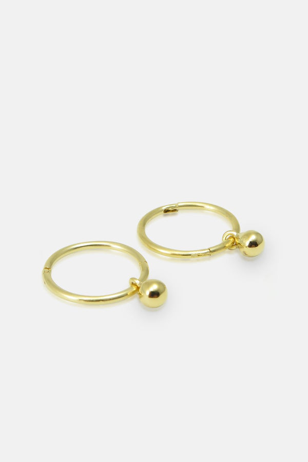 Earrings - Hoops with tiny ball Vermeil