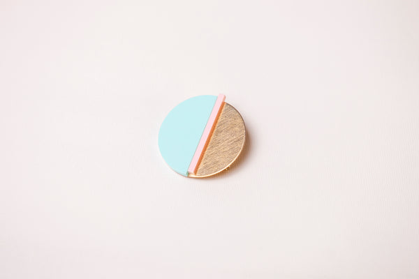 Brooch - Horizon Mint & Pink
