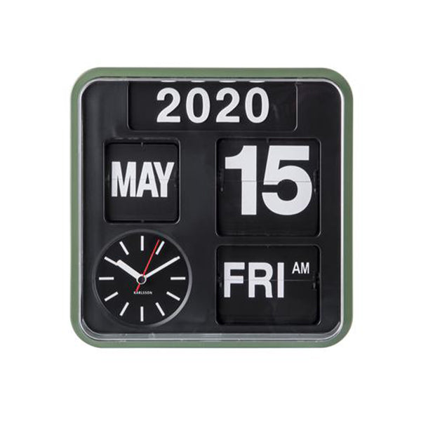 Wall clock mini flip - Green