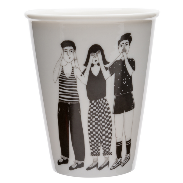Porcelain cup - 'Hear See and Shut Up'