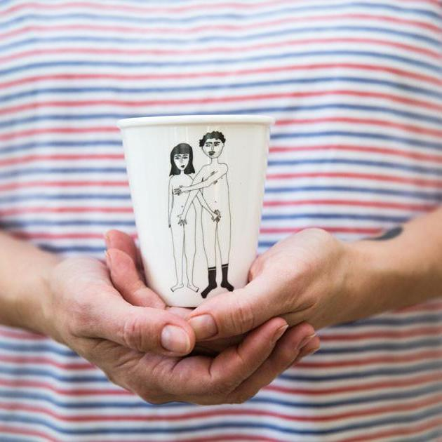 Porcelain cup - 'Naked Couple'-Helen B-My Ex Boyfriend