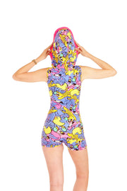 Hooded Jumpsuit - Party Animals - Jazzy Jungle Pink