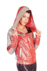SALE! Reduced From £95.00 - Future Retro Space Sports Jacket - Space Safari - Red & Silver - Unisex