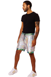 LAST PAIR! Size (M)  'Off the Scale' - Unisex Sequin Resort Shorts