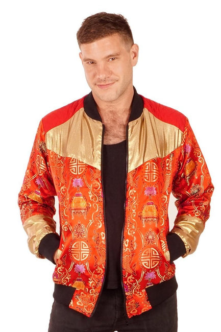 XMAS OFFER! 25% off Reduced From £85.00 - Kimono Bomber Jacket - Lucky Fish - Red & Gold - Unisex