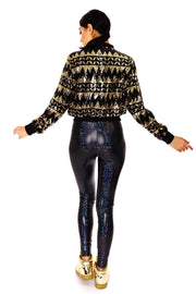 Dazzle Me - Cropped Sequin Bomber Jacket.