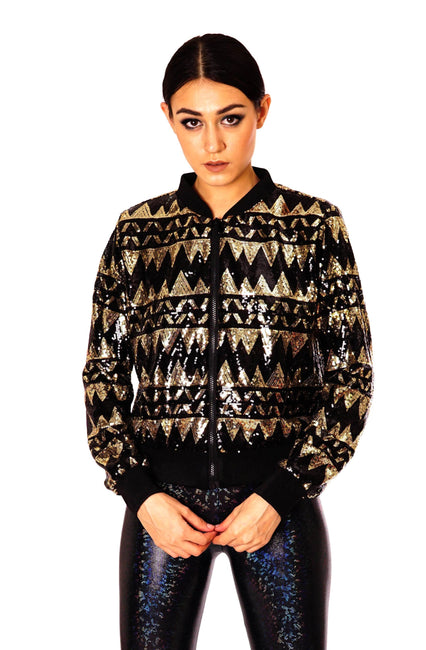 Black and gold womans sequin bomber jacket.  Cropped cut.  Geometric zig-zag design.