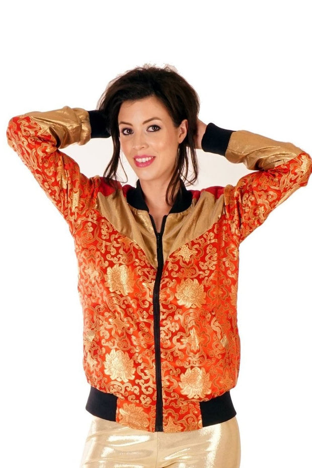 XMAS OFFER! 25% off Reduced From £85.00 - Kimono Bomber Jacket - Lotus - Red & Gold - Unisex