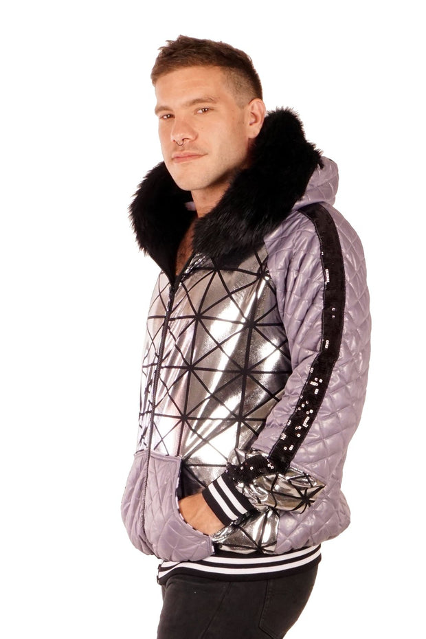 Pro-level Quilted Puffer Jacket - Silver Geomess - Unisex