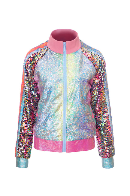 Deluxe Disarray Bomber Jacket - Candy Rainbow Roller Disco