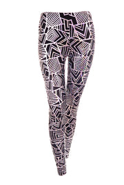 State of Disarray Black and Silver unisex leggings with geometric print