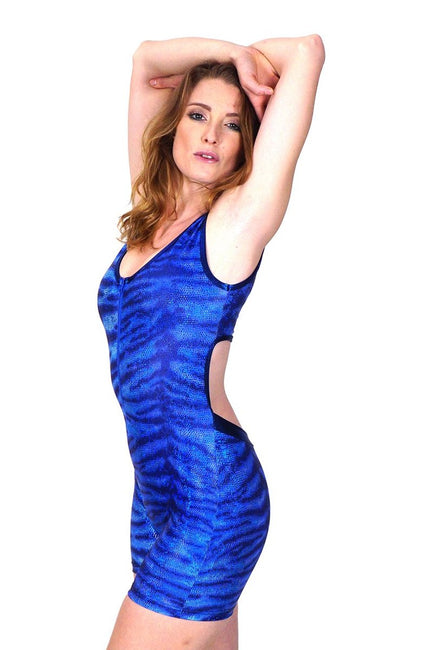 Indigo Tropicool Tiger - Backless Playsuit
