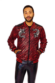 red and black bespoke Unisex bomber jacket with japanese fish motifs. Red and black metalic zebra print jacket.