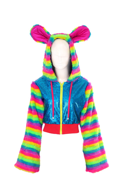 Disco Minx - Fluffy Jacket - Raucous Rainbow