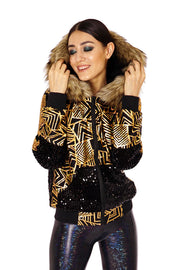 Black and gold sequin jacket with an oversized hood and faux fur trim  - Sequin Hoodie - mens, womans, unisex. Burner Style, UK festival Fashion.