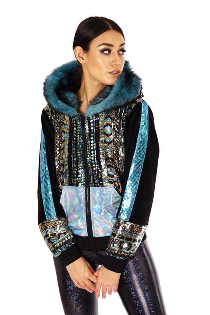 Black, gold and turquoise sequin jacket with an oversized hood, and faux fur trim  - Designer Sequin Hoodie - mens, womans, unisex. Burner Style, UK festival Fashion.