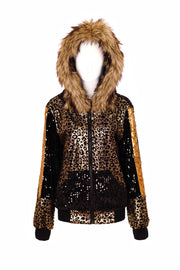 Black and gold leopard print sequin jacket, with an oversized hood and faux fur trim.  Unisex Sequin Hoodie - mens, womans Burner Style fashion, UK festival Fashion. Independent, Alternative fashion and costume brand.