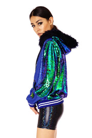 Emerald green sequin jacket with an oversized hood and faux fur trim.  Sequin Hoodie - mens, womans, unisex. Festival Fashion