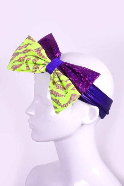 Mega Bow - Neon Yellow & Purple - Headband