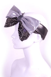 Mega Bow - Black Crackle & Silver - Headband