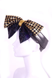 Mega Bow - Gold Houndstooth and Petrol Black - Headband