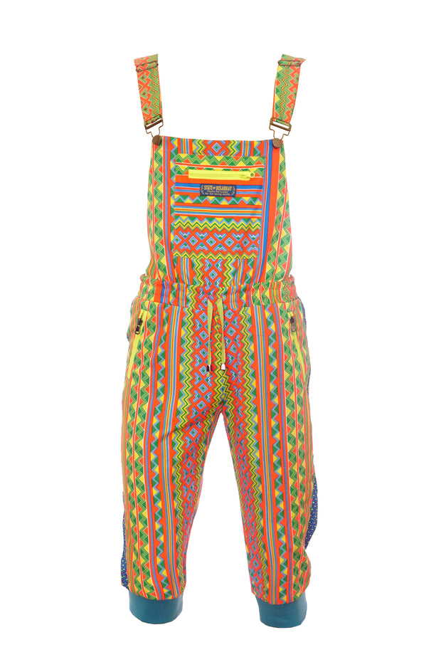 Colour Me Crazy -  Cropped Dungarees - Neon Rainbow