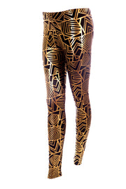 State of Disarray Black and gold unisex leggings with geometric print