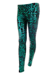 Green and Black unisex leggings with geometric print - State of Disarray