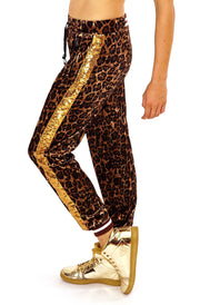 State of Disarray Gold Velvet Tiger print tracksuit bottoms.  Mens / Womans animal print loungewear Joggers / sweats pants tousers.