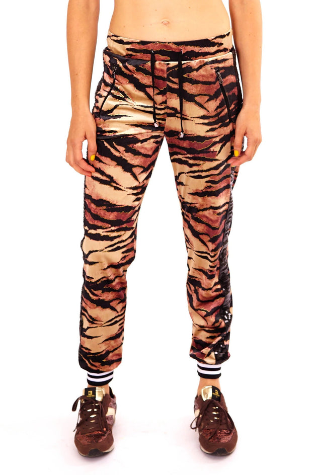 State of Disarray Velvet Tiger print tracksuit bottoms.  Mens / Womans animal print loungewear Joggers / sweats pants tousers.