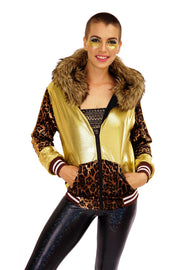 Deluxe Gold Leopard Print Hooded Jacket with oversized faux fur hood. Mens Womans
