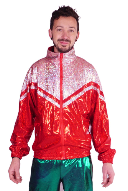 LAST ONE! Size (M) - Crimson Red & Silver - Leisurewear Track Jacket - Unisex