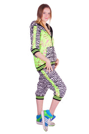 LAST ONE! Size (S) - Pink & Green Zebra Print - Cropped Tracksuit - Unisex