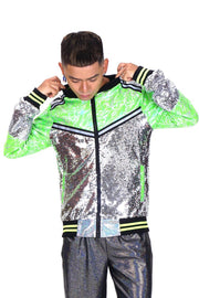Mirrorball Mayhem - Neon Green - Bomber Jacket