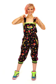 Colour Me Crazy - Cropped Dungarees - Neon Flowers