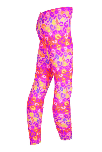 Neon Pink & Rainbow Leopard - Patterned Leggings