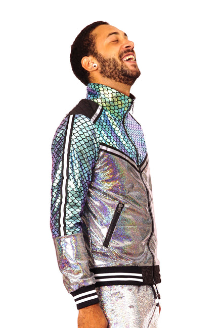Satte of Disarray Metallic Unisex jacket with reflective tape and iridescent silver and green fish scale panels. Mens, Womans  glittery festival jacket.