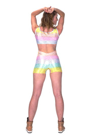 Candy Rainbow Leopard - Backless Playsuit