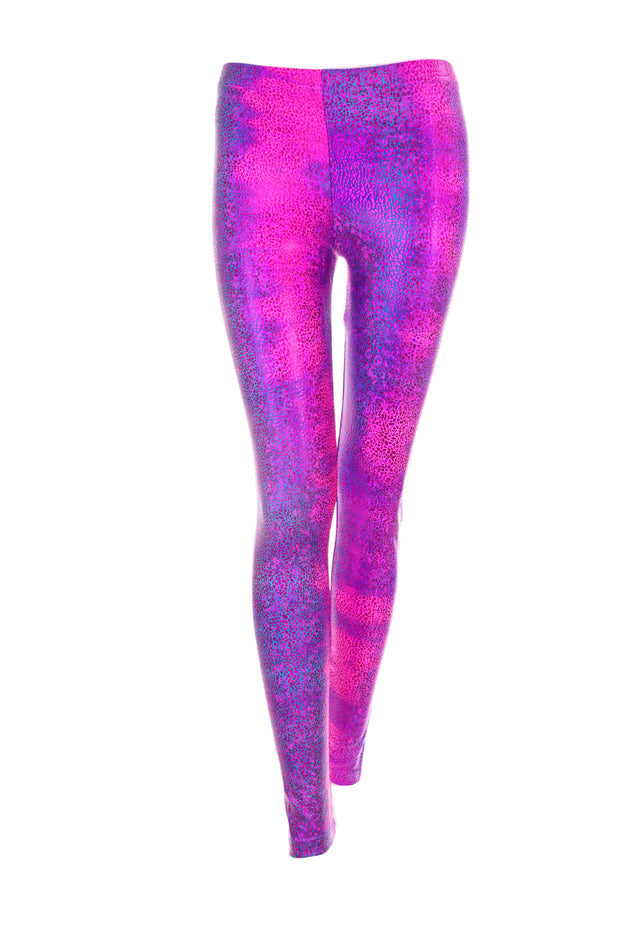 Pink Purple Blue sparkly spandex leggings by State of Disarray