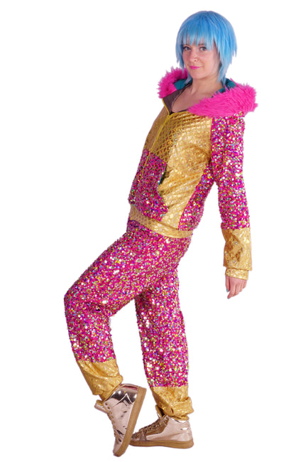 Bubble Gum Pink & Gold - Sequin Tracksuit - Unisex