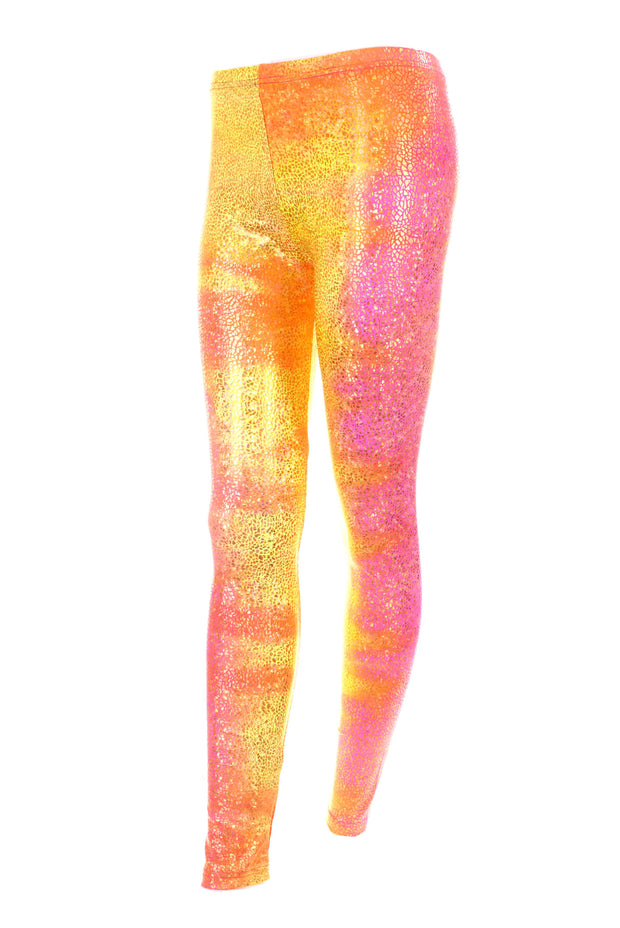Pink and Orrange Volcano Spandex Leggings Meggings by State of Disarray