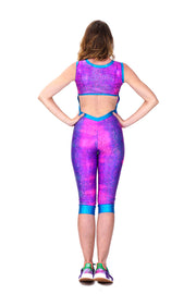 Magenta Smashed Seashell - Backless catsuit